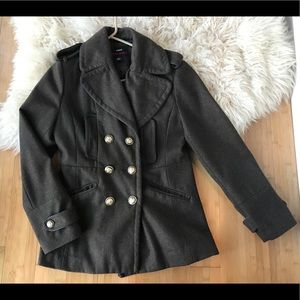 Olive Miss Sixty Double Breasted Pea Coat -Large